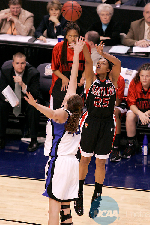 04 APR 2006:  Marissa Coleman (25) of the University of Maryland takes a jump shot as Duke's Alison Bales tried to block it during the Division I Women's Final Four National Championship Game held at TD Banknorth Garden in Boston, MA.  Maryland defeated Duke 78-75 in overtime for the national title.  Trevor Brown, Jr./NCAA Photos
