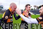 Darragh Long and William Kirby and Daniel BohanAustin Stacks players celebrate winning the Kerry Senior County Football Final at Fitzgerald Stadium on Sunday.