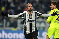 Calcio, Serie A: Juventus vs Bologna. Torino, Juventus Stadium, 8 gennaio 2017.<br /> Juventus' Gonzalo Higuain celebrates after scoring during the Italian Serie A football match between Juventus and Bologna at Turin's Juventus Stadium, 8 January 2017. Juventus won 3-0.<br /> UPDATE IMAGES PRESS/Manuela Viganti
