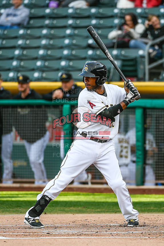 Rey Navarro (20) of the Salt Lake Bees at bat against the Memphis Redbirds in Pacific Coast League action at Smith's Ballpark on May 24, 2016 in Salt Lake City, Utah. The Bees defeated the Redbirds 7-5. (Stephen Smith/Four Seam Images)