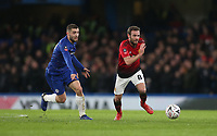 Manchester United's Juan Mata and Chelsea's Mateo Kovacic<br /> <br /> Photographer Rob Newell/CameraSport<br /> <br /> Emirates FA Cup Fifth Round - Chelsea v Manchester United - Monday 18th February - Stamford Bridge - London<br />  <br /> World Copyright © 2019 CameraSport. All rights reserved. 43 Linden Ave. Countesthorpe. Leicester. England. LE8 5PG - Tel: +44 (0) 116 277 4147 - admin@camerasport.com - www.camerasport.com