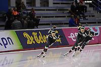 SCHAATSEN: CALGARY: Olympic Oval, 09-11-2013, Essent ISU World Cup, Team Pursuit, Matteo Anesi, Luca Stefani, Andrea Giovannini (ITA), ©foto Martin de Jong