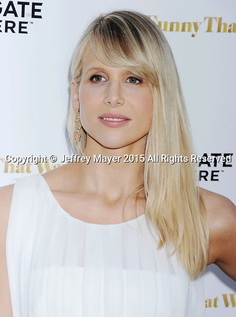 LOS ANGELES, CA - AUGUST 19: Actress Lucy Punch arrives at the Premiere Of Lionsgate Premiere's 'She's Funny That Way' at Harmony Gold on August 19, 2015 in Los Angeles, California.