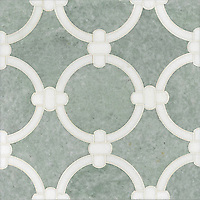 Cary, a stone water jet mosaic, shown in Thassos and Ming Green, is part of the Ann Sacks Beau Monde collection sold exclusively at www.annsacks.com