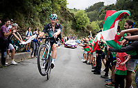 Jempy Drucker (LUX/Bora-Hansgrohe) pulling a wheelie up the brutal (last climb) Alto de Arraiz (up to 25% gradients!), 7km from the finish <br /> <br /> Stage 12: Circuito de Navarra to Bilbao (171km)<br /> La Vuelta 2019<br /> <br /> ©kramon