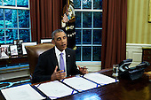 """United States President Barack Obama makes a statement before signing two bills, S. 337 the """"FOIA Improvement Act of 2016"""" and S. 2328 the """"Puerto Rico Oversight, Management, and Economic Stability Act,"""" in the Oval Office of the White House in Washington, D.C. on June 30, 2016.<br /> Credit: TJ Kirkpatrick / Pool via CNP"""