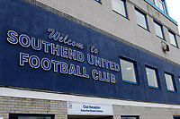 A general view of the main entrance at Southend United FC during the Sky Bet League 1 match between Southend United and Fleetwood Town at Roots Hall, Southend, England on 13 January 2018. Photo by Carlton Myrie.