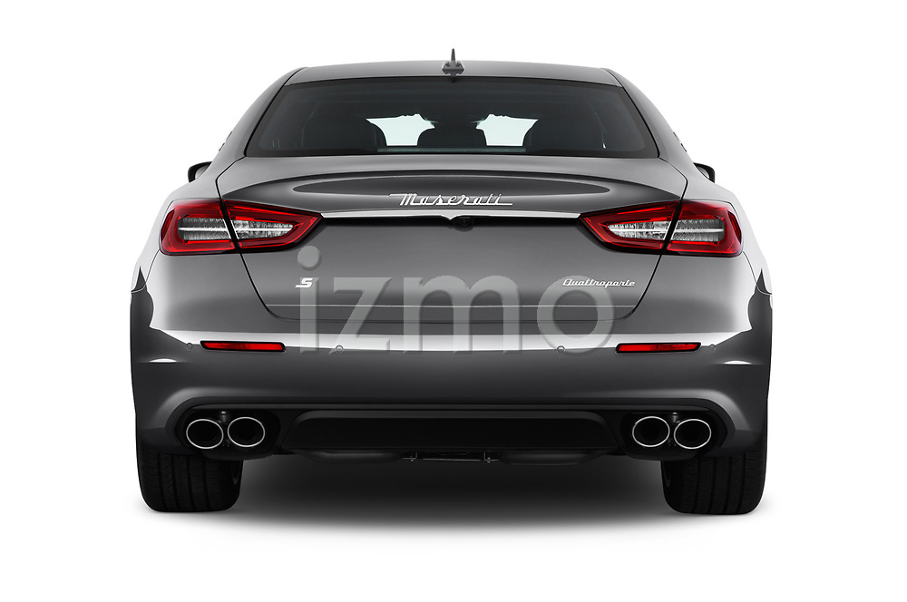 Straight rear view of a 2017 Maserati Quattroporte S 4 Door Sedan stock images