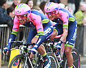 Team Lampre-Merida (ITA) race past Queen's University Belfast during the first stage of the 2014 Giro d'Italia, a 21km Team Time Trial stage, May 9, 2014 in Belfast, Northern Ireland.