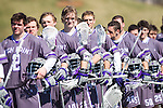 Tanner Landstra (24) of the High Point Panthers and his teammates stand for the National Anthem prior to their game against the UMBC Retrievers at Vert Track, Soccer & Lacrosse Stadium on March 15, 2014 in High Point, North Carolina.  The Panthers defeated the Retrievers 17-15.   (Brian Westerholt/Sports On Film)