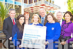 St Brigids students Lorraine Cremins, Danielle O'Sullivan, Heather O'Donoghue and teacher Peggy Dowling launching the Bank Of Ireland National Enterprise Week in Killarney on Monday with l-r: Eamon Goughran, Siobhain Kissane, Frank Shea and Sean Ferris all Bank Of Ireland