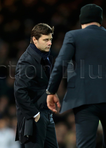 02.03.2016. Boleyn Ground, London, England. Barclays Premier League. West Ham versus Tottenham Hotspur. Tottenham Hotspur Manager Mauricio Pochettino looks dejected as Referee Andre Marriner blows for full time