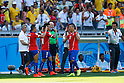 (L-R) Euqenio Mena, Eduardo Vargas, Gary Medel (CHI),<br /> JUNE 28, 2014 - Football / Soccer :<br /> Alexis Sanchez of Chile celebrate scoring his side first goal during the FIFA World Cup Brazil 2014 Round of 16 match between Brazil 1(3-2)1 Chile at Estadio Mineirao in Belo Horizonte, Brazil. (Photo by D.Nakashima/AFLO)