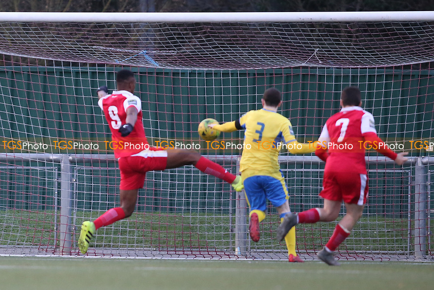 Emile Acquah of Harlow scores and celebrates during Harlow Town vs Haringey Borough, Bostik League Premier Division Football at The Harlow Arena on 12th January 2019
