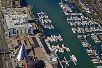 Museum of Glass and marinas on Thea Foss Waterway,in Tacoma