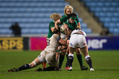16th March 2018, Ricoh Arena, Coventry, England; Womens Six Nations Rugby, England Women versus Ireland Women; Paula Fitzpatrick of Ireland is tackled by Sarah Hunter of England
