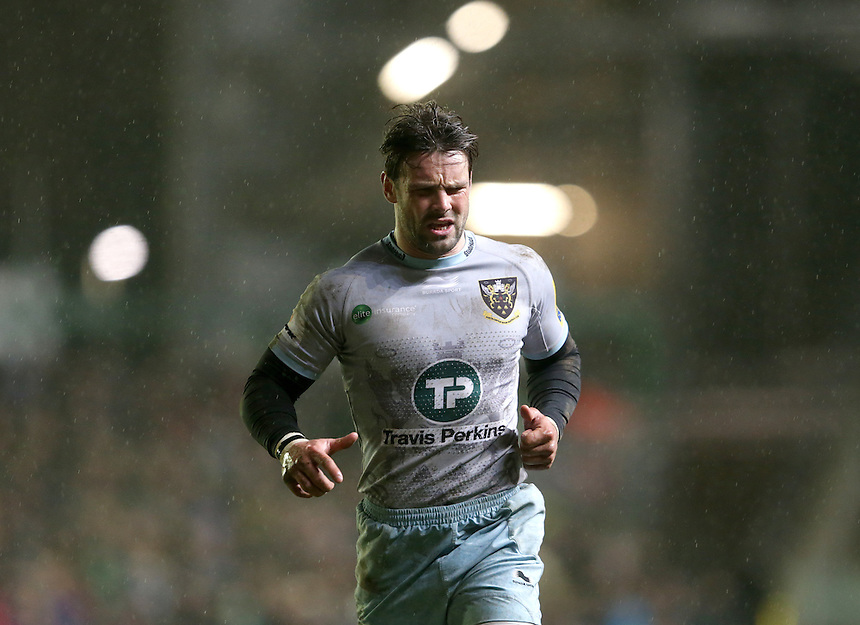 Northampton Saints' Ben Foden in action during todays match<br /> <br /> Photographer Rachel Holborn/CameraSport<br /> <br /> Rugby Union - Aviva Premiership Round 9 - Leicester Tigers v Northampton Saints - Saturday 9th January 2016 - Welford Road - Leicester<br /> <br /> &copy; CameraSport - 43 Linden Ave. Countesthorpe. Leicester. England. LE8 5PG - Tel: +44 (0) 116 277 4147 - admin@camerasport.com - www.camerasport.com