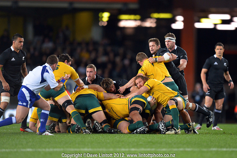 A scrum collapses during the Rugby Championship international rugby Bledisloe Cup test match between All Blacks and Australia at Eden Park, Auckland, New Zealand on Saturday, 25 August 2012. Photo: Dave Lintott / lintottphoto.co.nz