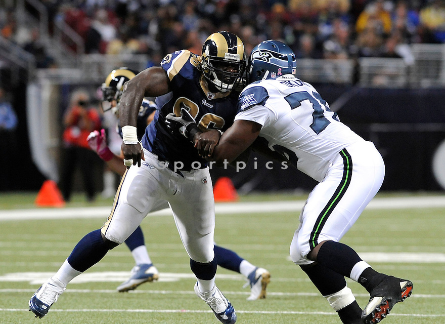 JAMES HALL, of the St. Louis Rams,  in action during the Rams  game against the Seattle Seahawks on October 3, 2010 at Edward Jones Dome in St. Louis , Missouri...Rams defeated the Seahawks 20-3
