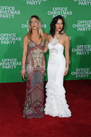 WESTWOOD, CA - DECEMBER 07: Jennifer Aniston, Olivia Munn arrive at the premiere of Paramount Pictures' 'Office Christmas Party' at Regency Village Theatre on December 7, 2016 in Westwood, California.  (Credit: Parisa Afsahi/MediaPunch).