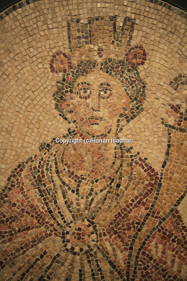 Israel, Jerusalem, mosaic depicting Tyche the guardian Goddess of the city from Beth Shean, at the Israel Museum