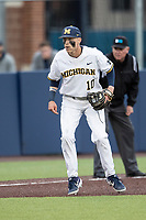 Michigan Wolverines third baseman Blake Nelson (10) on defense in the NCAA baseball game against the Michigan State Spartans on May 7, 2019 at Ray Fisher Stadium in Ann Arbor, Michigan. Michigan defeated Michigan State 7-0. (Andrew Woolley/Four Seam Images)
