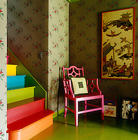 Vibrantly painted wooden floor and staircase