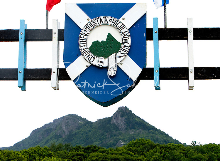 Main entrance with Grandfather Mountain in the background during the 52nd Annual Grandfather Mountain Highland Games in Linville, NC.