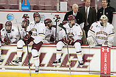 Cam Spiro (BC - 15), Steve Santini (BC - 6), Ian McCoshen (BC - 3), Scott Savage (BC - 2), Noah Hanifin (BC - 7), Jerry York (BC - Head Coach), Greg Brown (BC - Associate Head Coach), Bert Lenz (BC - Director-Sports Medicine), Brad Barone (BC - 29) - The Boston College Eagles defeated the visiting Merrimack College Warriors 2-1 on Wednesday, January 21, 2015, at Kelley Rink in Conte Forum in Chestnut Hill, Massachusetts.