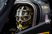 Sept. 1, 2013; Clermont, IN, USA: NHRA top fuel dragster driver Tony Schumacher during qualifying for the US Nationals at Lucas Oil Raceway. Mandatory Credit: Mark J. Rebilas-