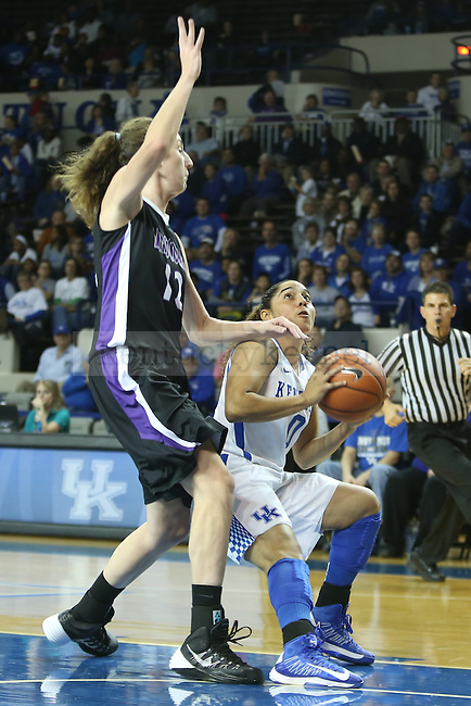 Kentucky Wildcats guard Jennifer O'Neill (0) attempting to push past Lipscomb Lady Bisons forward Ashley Southern (12) to the basket during the first half of the UK Hoops basketball game vs. Lipscomb on Thursday, November 21, 2013, in Lexington, Ky. Photo by Kalyn Bradford | Staff