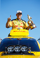 Aug 21, 2016; Brainerd, MN, USA; NHRA funny car driver Del Worsham celebrates after winning the Lucas Oil Nationals at Brainerd International Raceway. Mandatory Credit: Mark J. Rebilas-USA TODAY Sports