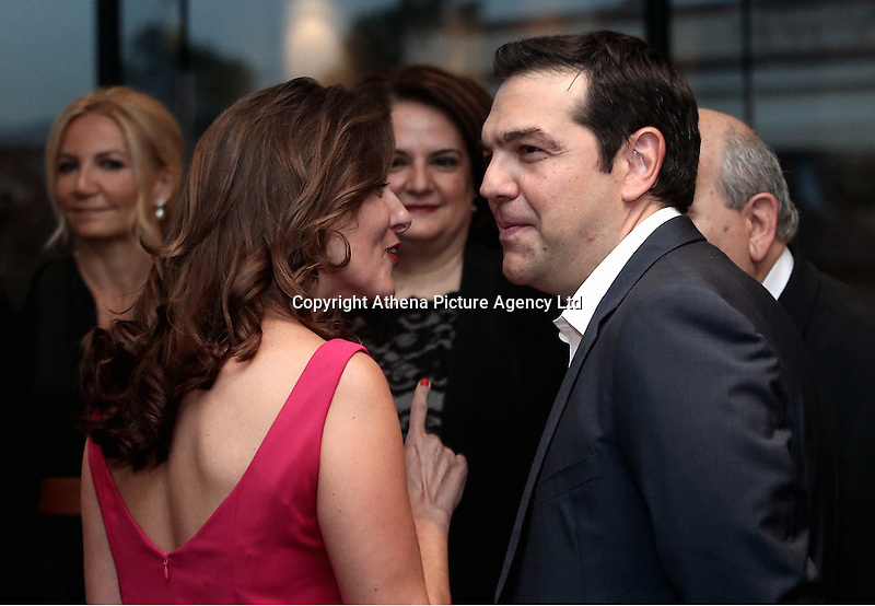 Pictured: Prime Minister Alexis Tsipras with wife Peristera (Betty) at a formal dinner in Athens, Greece. Friday 17 June 2016<br /> Re: The United Nations secretary-general is visiting Greece, ahead of talks with government officials and a trip to the island of Lesbos, which is at the forefront of Greece's immigration crisis.<br /> Ban Ki-moon met with officials and volunteers at the Solidarity Now group, which helps victims of Greece's financial crisis and migrants stuck in the country.<br /> He has also visited Greek President Procopis Pavlopoulos before travelling camps on Lesbos island where 3,400 refugees and other migrants live.