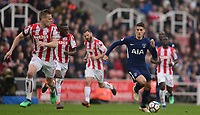 Erik Lamela of Tottenham takes on the Stoke defence during the EPL - Premier League match between Chelsea and West Ham United at Stamford Bridge, London, England on 8 April 2018. Photo by PRiME Media Images.
