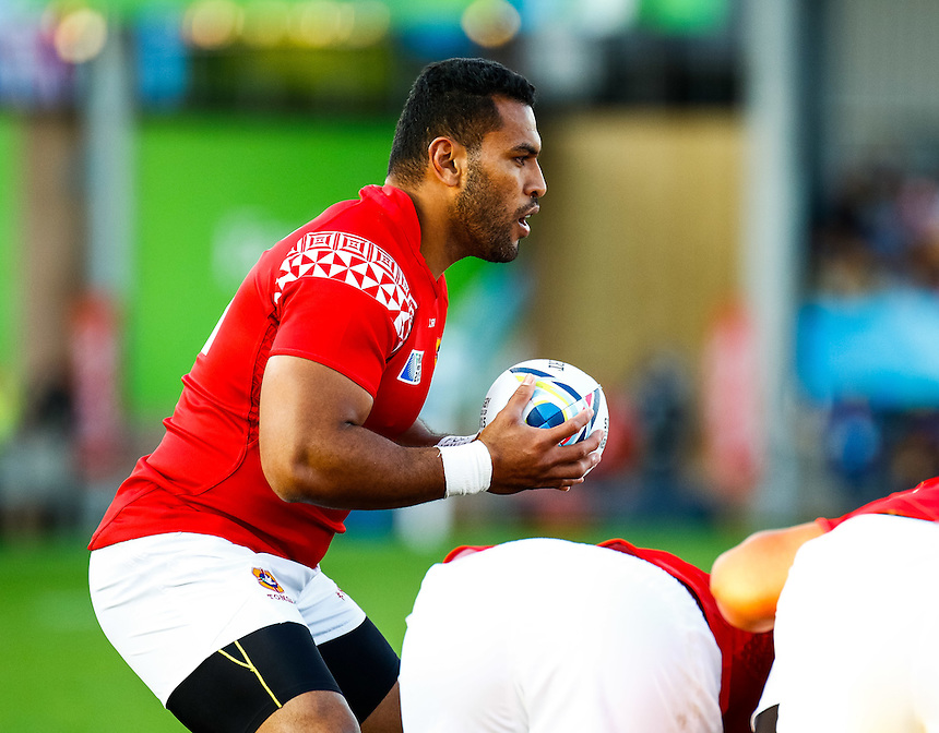 Tonga's Samisoni Fisilau waits to put in<br /> <br /> Photographer Simon King/CameraSport<br /> <br /> Rugby Union - 2015 Rugby World Cup Pool C - Namibia v Tonga - Tuesday 29th September 2015 - Sandy Park - Exeter<br /> <br /> &copy; CameraSport - 43 Linden Ave. Countesthorpe. Leicester. England. LE8 5PG - Tel: +44 (0) 116 277 4147 - admin@camerasport.com - www.camerasport.com
