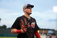 Great Lakes Loons outfielder Alex Verdugo (9) walks to the dugout in between innings during a game against the Kane County Cougars on August 13, 2015 at Fifth Third Bank Ballpark in Geneva, Illinois.  Great Lakes defeated Kane County 7-3.  (Mike Janes/Four Seam Images)