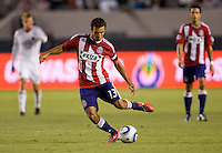 Chivas USA midfielder Jonathan Bornstein sends a ball over the middle. CD Chivas USA beat DC United 1-0 at Home Depot Center stadium in Carson, California on Sunday August 29, 2010.