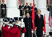 United States President Barack Obama and President Hu Jintao of China watch the United States Army Old Guard Fife and Drum Corps pass on the South Lawn of the White House, Wednesday, January 19, 2011. .Mandatory Credit: Chuck Kennedy - White House via CNP