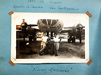 BNPS.co.uk (01202 558833)<br /> AndreasThies/BNPS<br /> <br /> Picture: Russell R. Carlson and Sam San Fratello at Tinian, Marianas.<br /> <br />  Never-before-seen photos of the aircraft crew that dropped the world's first atomic bomb receiving a heroes' welcome upon returning from the historic mission have come to light.<br /> <br /> The black and white images show the 12 airmen posing for photos moments after the B-29 bomber 'Enola Gay' arrived back at base in the wake of the devastating attack on Hiroshima in Japan.<br /> <br /> One photo is of pilot Colonel Paul Tibbets being given an immediate gallantry decoration by a general after stepping off the aircraft.<br /> <br /> The album, containing 88 images, was collated by a US airman serving on the base during World War Two.