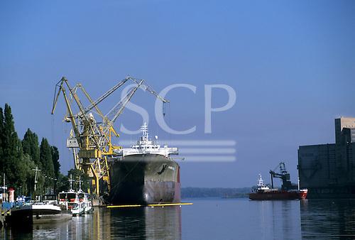 Szczecin, Poland. Ocean going ship at the dockside in the port.