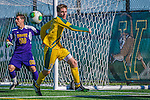 18 September 2013: University of Vermont Catamount Defenseman Luke Salmon, a Junior from Newcastle, England, in action against the Hofstra University Pride at Virtue Field in Burlington, Vermont. The Catamounts defeated the visiting Pride 2-1. Mandatory Credit: Ed Wolfstein Photo *** RAW (NEF) Image File Available ***