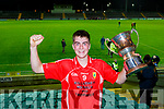 East Kerry captain Killian O'Sullivan  celebrated after winning the County Minor football final against St Brendans in Austin Stack Park on Wednesday evening