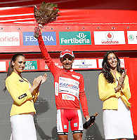 Joaquin Purito Rodriguez with the leader's red jersey after the stage of La Vuelta 2012 between Barakaldo and Valdezcaray.August 21,2012. (ALTERPHOTOS/Acero) /NortePhoto.com