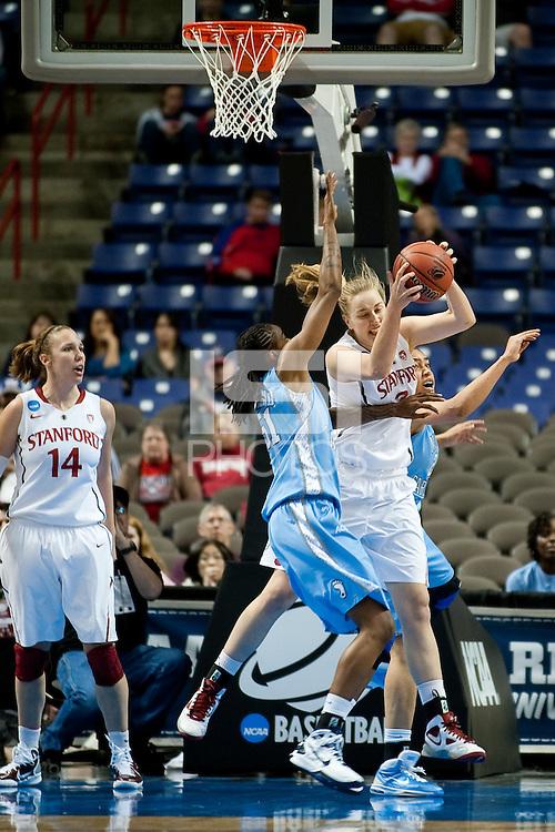 SPOKANE, WA - MARCH 26, 2011: Mikaela Ruef, Stanford Women's Basketball vs University of North Carolina, NCAA West Regionals on March 26, 2011.