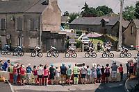 peloton (with Chris Froome)  rolling through Vay<br /> <br /> Stage 4: La Baule &gt; Sarzeau (192km)<br /> <br /> 105th Tour de France 2018<br /> &copy;kramon