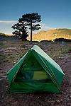 Backpackers tent campsite, Desolation Wilderness, El Dorado National Forest, California