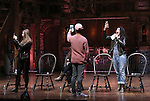 Eliza Ohman, Jordan Fisher and Stephanie Klemons from 'Hamilton' greet High School students from The Rockefeller Foundation, and The Gilder Lehrman Institute of American History before a 'Hamilton' matinee performance at the Richard Rodgers Theatre on 11/30/2016 in New York City.