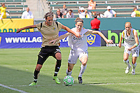 Liz Bogus #17 of the Los Angeles Sol battles Christine Sinclair #12 of FC Gold Pride for control of the ball during their match at Home Depot Center on April 19, 2009 in Carson, California.