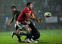 Ben Te'o gets a pass away during the 2017 DHL Lions Series rugby union match between the NZ Maori and British & Irish Lions at Rotorua International Stadium in Rotorua, New Zealand on Saturday, 17 June 2017. Photo: Dave Lintott / lintottphoto.co.nz