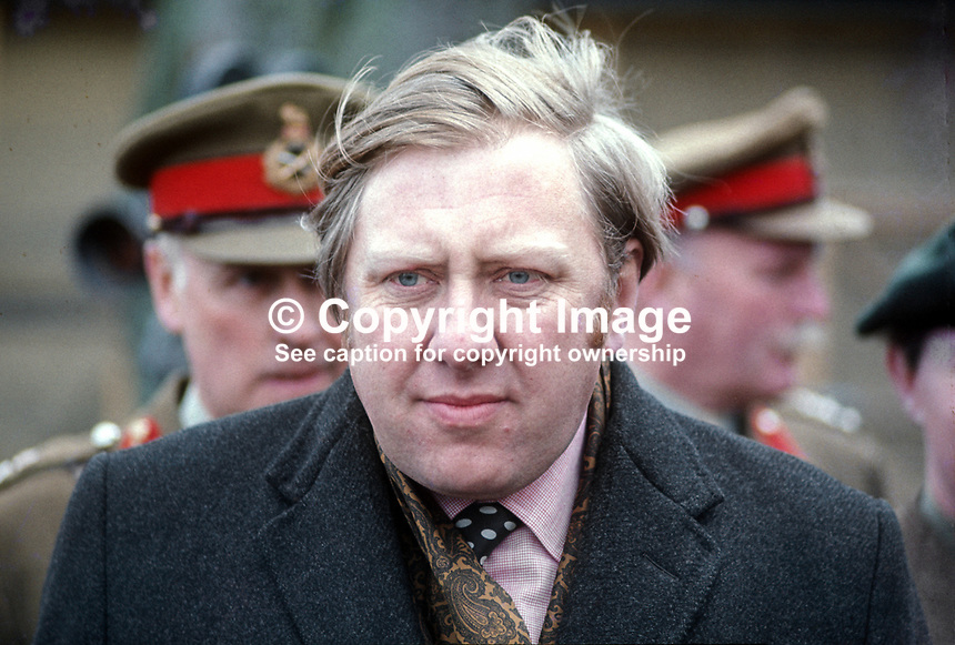 Roy Hattersley, MP, Labour Party, Defence Minister, photographed in N Ireland during visit to mark the occasion of the newly-formed Ulster Defence Regiment, UDR, becoming operational. 197004010112a.<br />